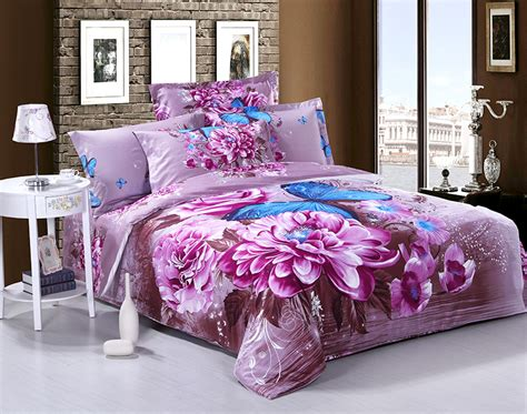 3d Purple Floral Blue Butterfly Cotton Bedding Set Queen
