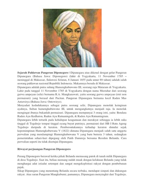 Ada juga pahlawan selain biografi pangeran diponegoro. Sejarah Pahlawan Pangeran Diponegoro