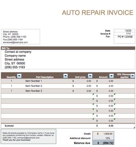 auto repair invoice template  invoice templates