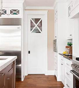 pantry with pocket door cottage kitchen bhg With kitchen colors with white cabinets with large black and white canvas wall art
