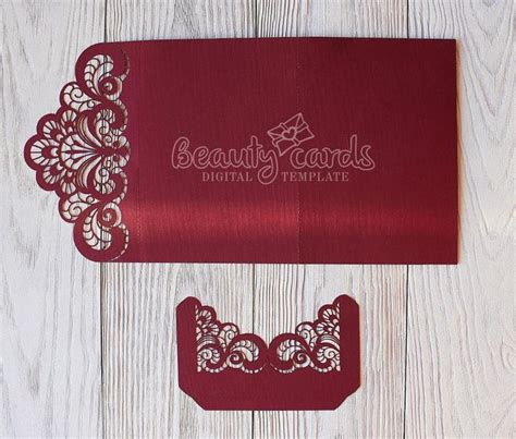 Wedding invitation template envelope Tri Fold Ornamental