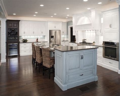 formal white kitchen  blue island mullet cabinet traditional kitchen cleveland