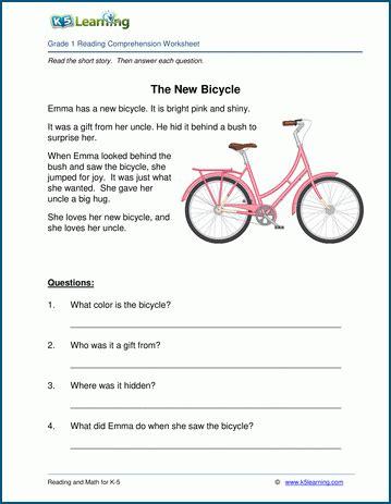 free printable grade reading comprehension worksheets k5 learning