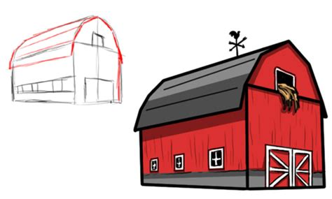 How To Draw A Barn by June 2013 Drawing For Children