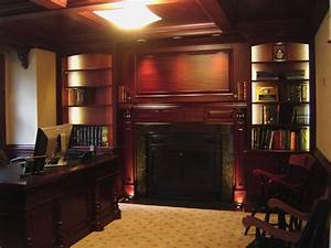 Custom Made Mahogany Home Office With Beam Ceiling by