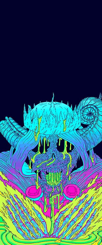 Ultrawide Vertical Neon Wallpapers Skull Widescreenwallpaper Firewatch