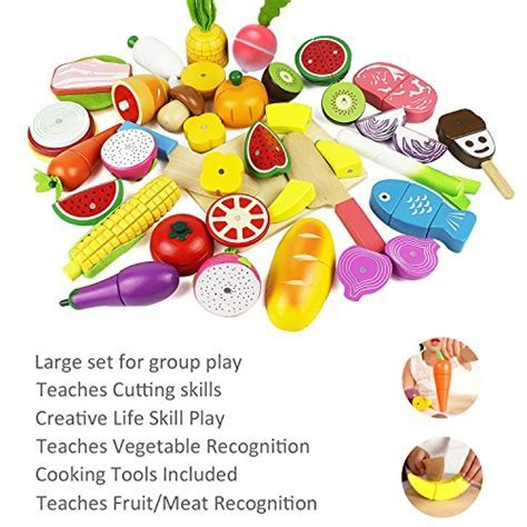 iPlay, iLearn Cutting Cooking Toy, Wooden Food, Pretend