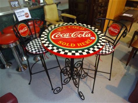 coca cola bistro table with two chairs ebay
