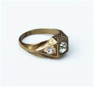 vintage deco brass gold s ring with rhinestone