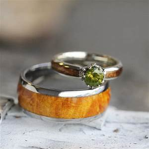 Unique wood wedding ring set peridot engagement ring in 10k for Peridot wedding ring set