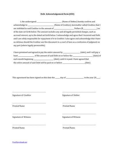 iou contract form iou template free download create edit fill and print