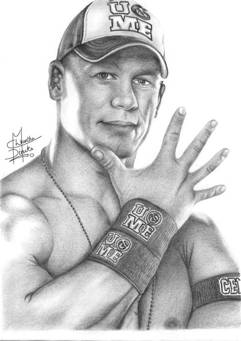 Pencil Sketches of People | john cena pencil drawing by chirantha traditional art drawings
