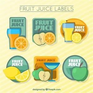 Cute fruit juice labels Vector | Free Download