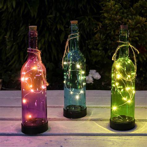 solar glass bottle lights 3 pack 30 5cm