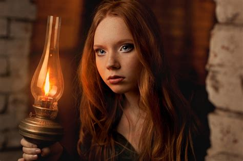 Face Redhead Gas Lamps Blue Eyes Freckles Long Hair