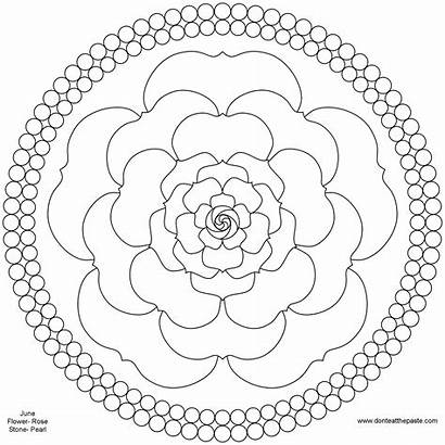 Mandala Flower Coloring June Rose Pages Birthstone