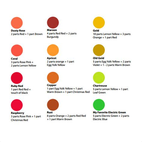 sample color chart template   documents   word