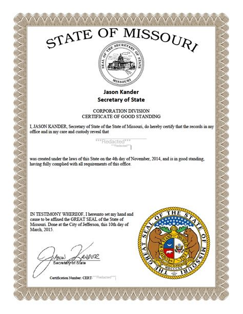 Certificate Of Good Standing by Missouri Certificate Of Good Standing Certificate Of