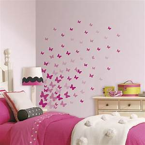 New pink flutter butterflies wall decals girls