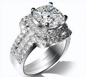 dropshipping 3ct cushion cut wedding rings for women top With synthetic diamond wedding ring sets