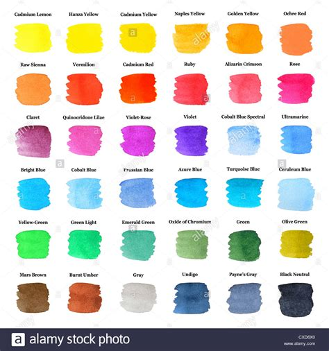 set of colorful strokes as watercolor palette with color