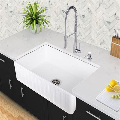 farmhouse style kitchen sink vigo industries vgra3618cs 36 inch matte single bowl 7168
