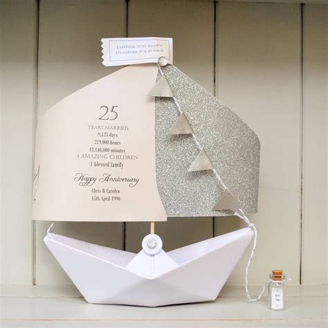 silver wedding anniversary paper boat card