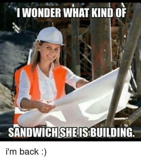 Building Memes - i wonder what kindof sandwich she is building i m back meme on sizzle