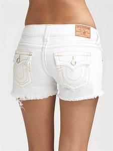 White Denim Cutoff Shorts - Trendy Clothes