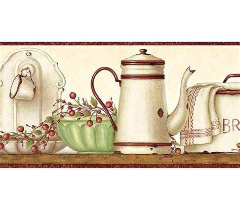 country kitchen borders enamelware shelf wallpaper border rustic country primitive 2737