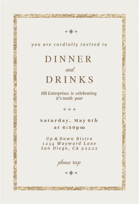 Elegant Gold Dinner Party Invitation Template (Free