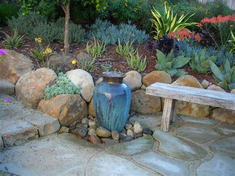 fountain  succulents landscape contemporary  rock
