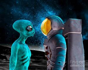 Alien And Astronaut, Artwork Photograph by Victor Habbick ...