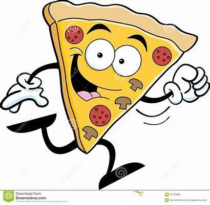 Pizza Cartoon Running Slice Illustration