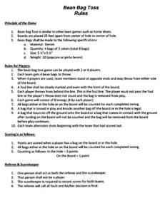 Bean Bag Game Rules