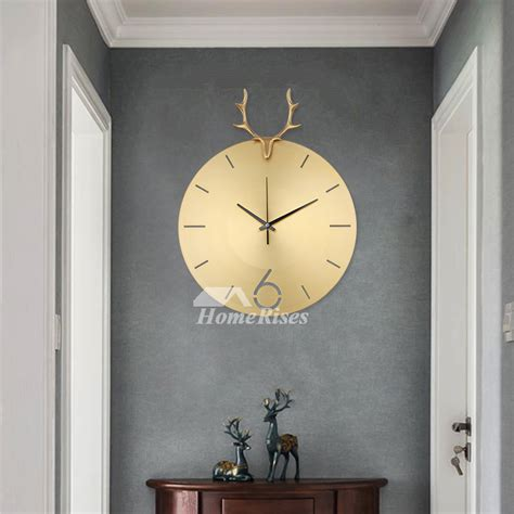 copper wall clock luxury fashion deer personalized living room silent