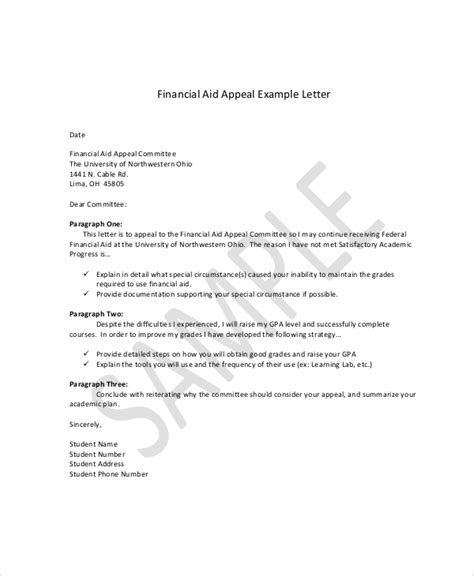 financial aid appeal letter appeal letter exle 11 free word pdf documents 22106