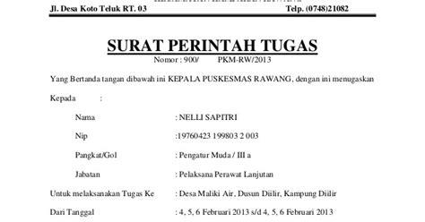 Contoh Surat Tugas Kedinasan by Kedinasan Contoh Surat Perintah Tugas Spt