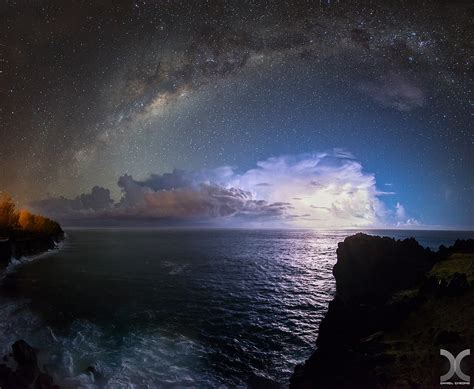 Wallpaper Landscape Sea Night Galaxy Water Rock