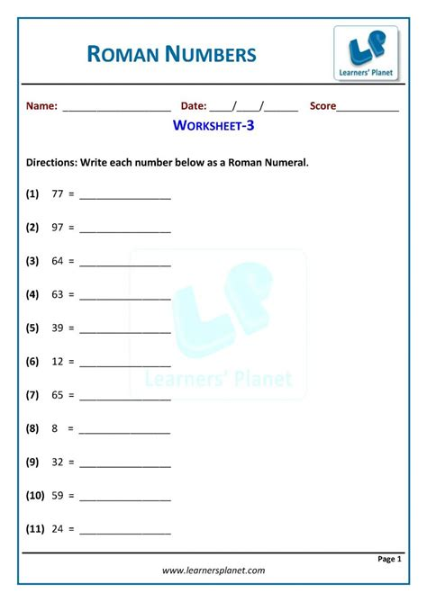 grade math writing roman numerals worksheets