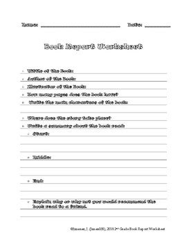 2nd Grade Book Report Forms by Book Report For Second Grade 9 Letter