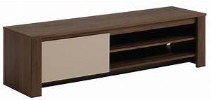 Meuble Tv Beige : meuble tv bas 1 porte 2 niches noyer brazil et beige habitat ~ Teatrodelosmanantiales.com Idées de Décoration