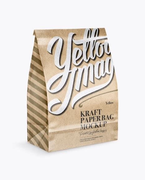 Magazine book stationery and other. Glossy Kraft Paper Bag Mockup - Half Side View PSD ...