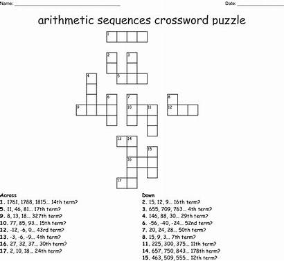 Arithmetic Sequence Puzzle Worksheet Sequences Word Crossword