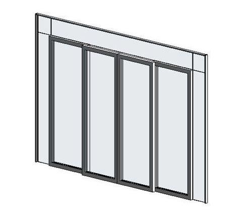 revitcity object curtain wall four panel sliding door