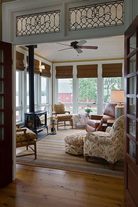 Ceiling Blinds For Sunrooms by Sun Room Designs Sunroom Farmhouse With Wood Stove White