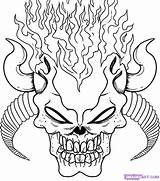 Coloring Pages Skull Scary Demon Creepy Adults Adult Halloween Sheets Sketchite Books Designs sketch template