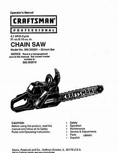Craftsman 360352010 User Manual Chain Saw Manuals And