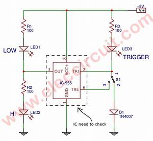 Simple 555 Ic Tester Circuit Diagram