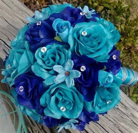 piece malibu blue royal blue silk rose wedding bouquet